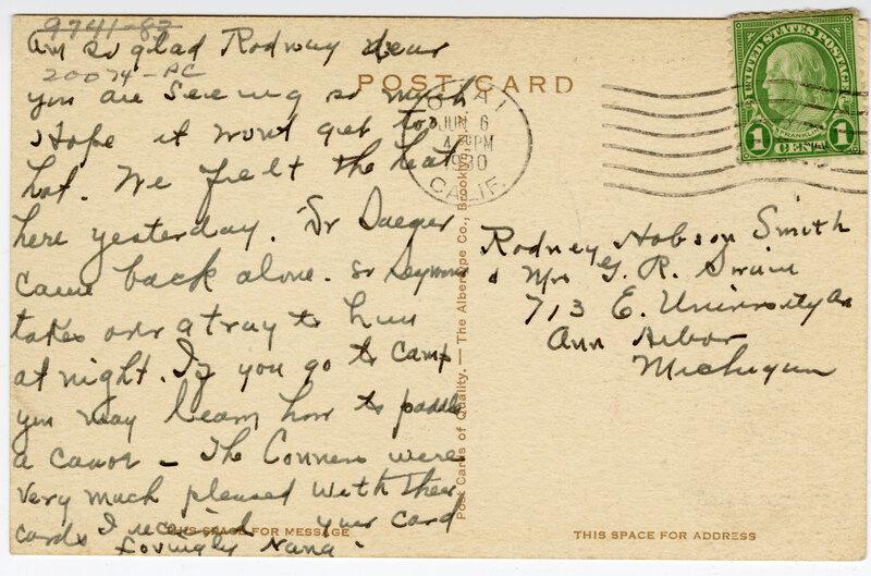 Ojai Avenue, Ojai, California 1930 postcard verso