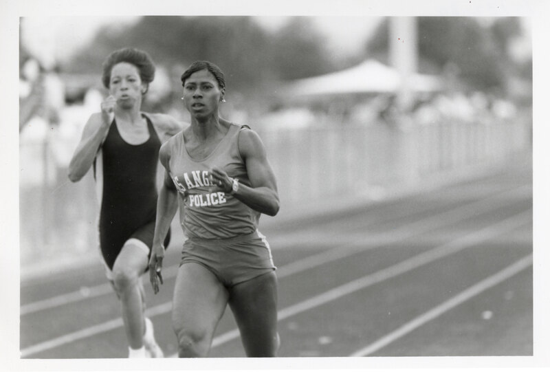 Rosalyn Bryant Running in the Police Olympics Held at Rio Mesa High School.