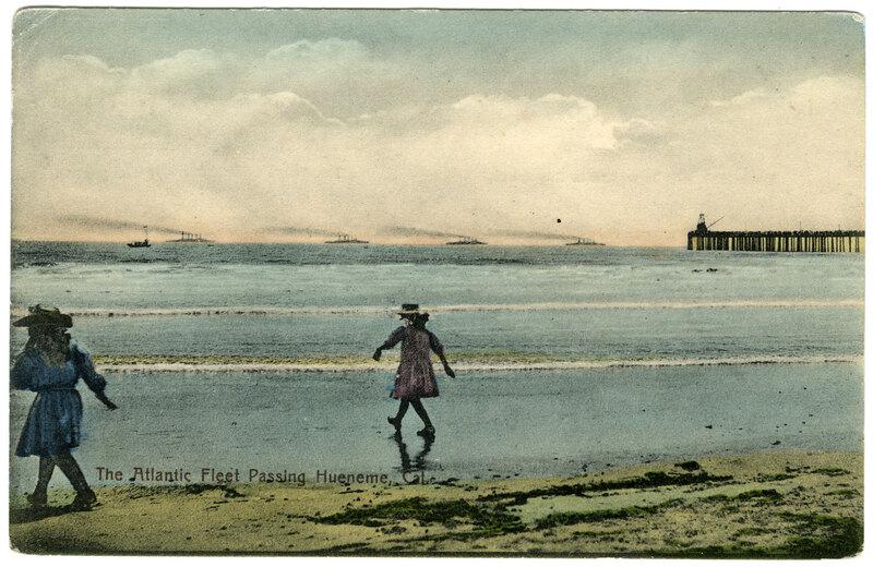 Atlantic Fleet Passing Hueneme postcard