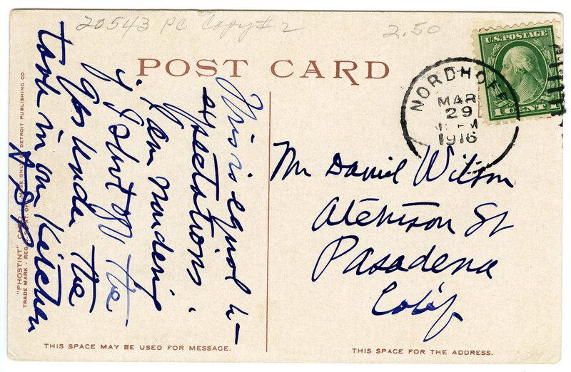 The Footills Hotel, Nordhoff Postcard Verso