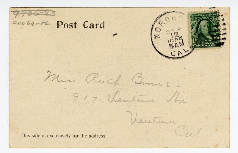 Matilija Hot Springs, Cal. 1905 postcard verso