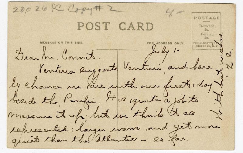 Pierpont Inn, Ventura, Cal. Post Card Verso