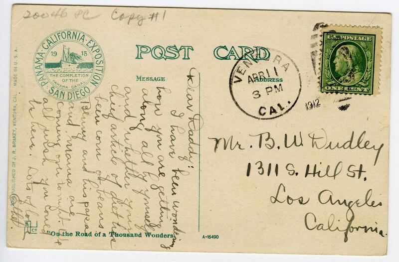 Ventura in 1875, post card verso
