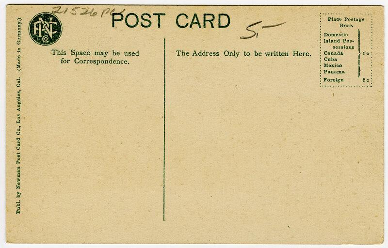 Pierpont Cottages, Ojai Valley postcard verso