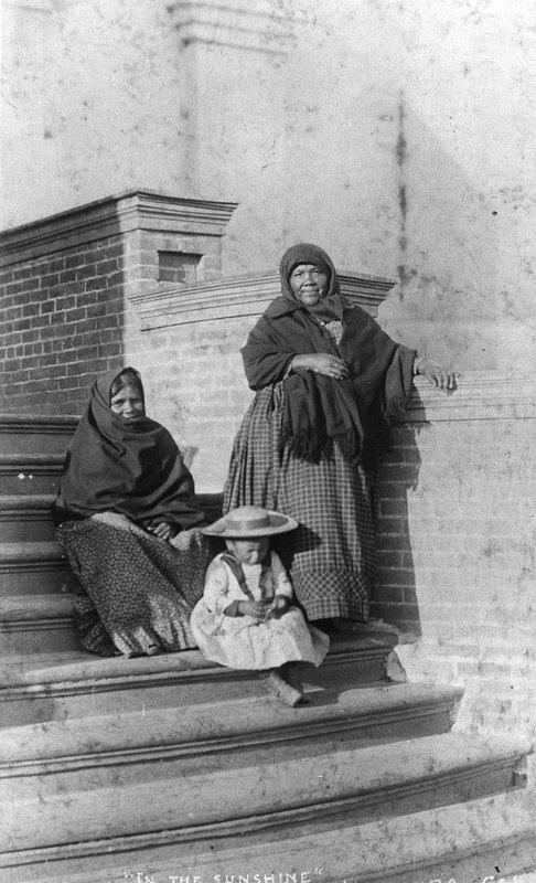 Basketmakers and Little Girl on Mission Steps