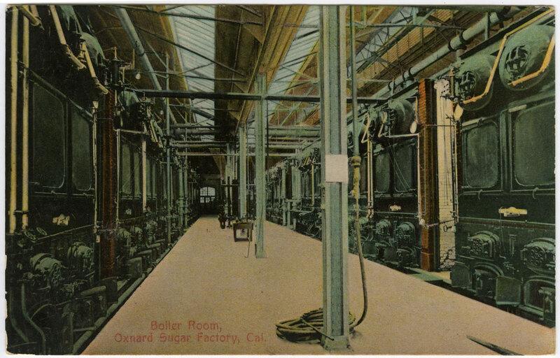 Boiler Room, Oxnard Sugar Factory postcard