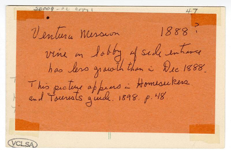 Mission San Buenaventura, Ventura Post Card Verso