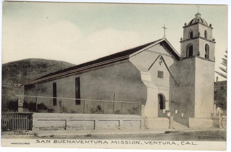 San Buenaventura Mission colored Post Card