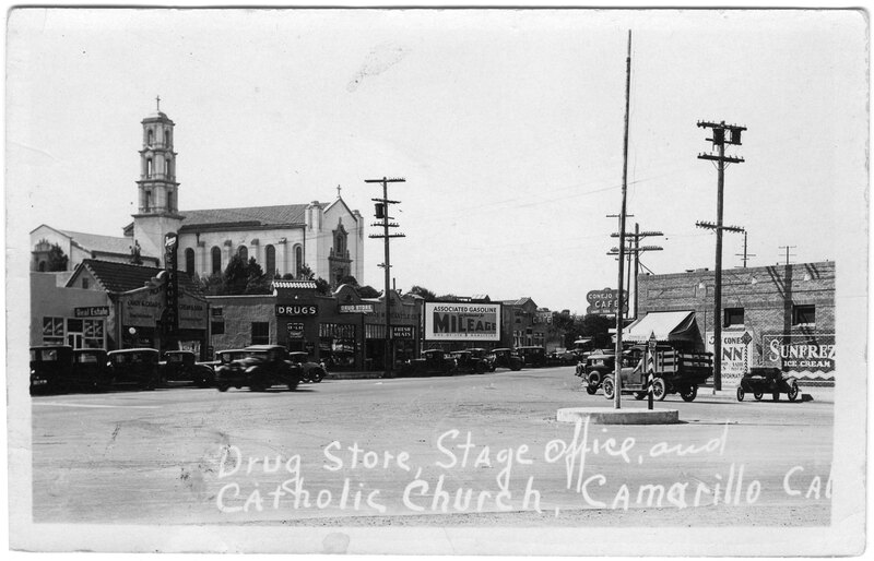 Drug Store, Stage Office, and Catholic Church, Camarillo postcard