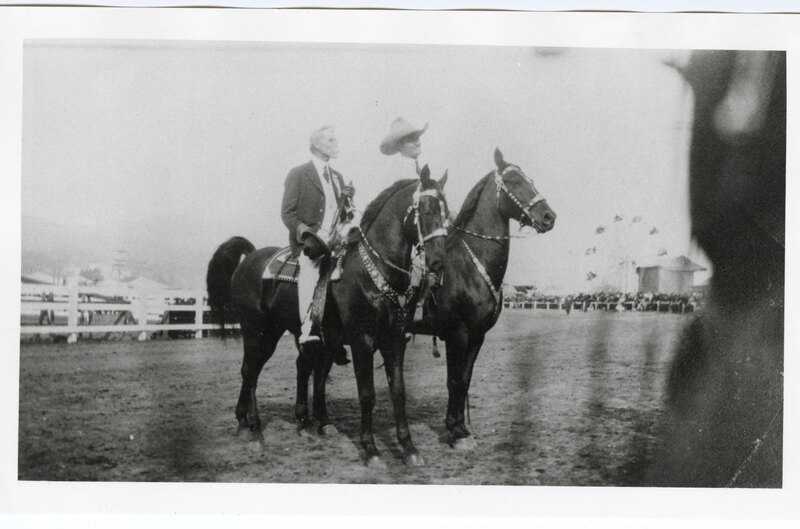 A. L. Hobson and Tom Mix at the Ventura County Fairgrounds, 1921