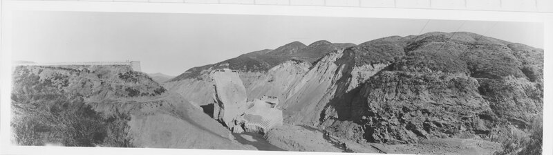 St. Francis Dam Area One Week After March 1928 Disaster, Bird's Eye View Across Canyon