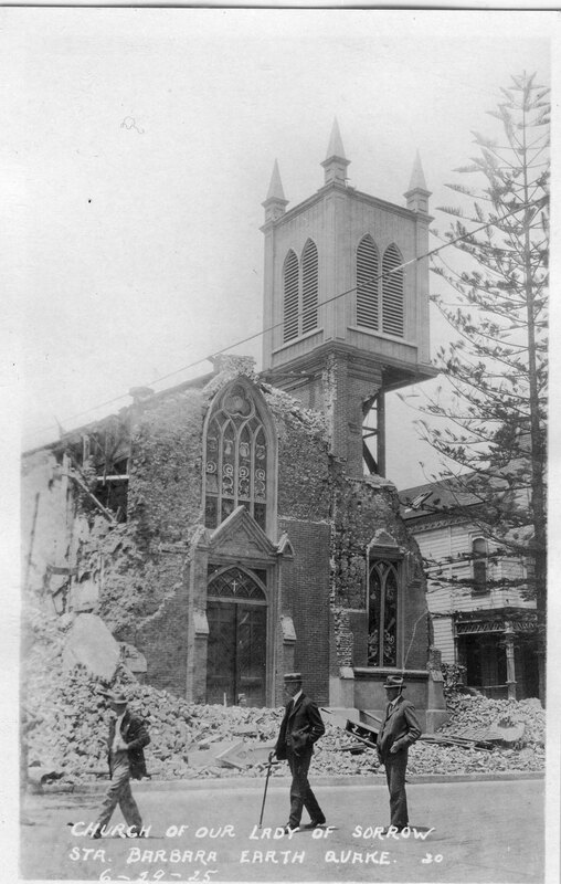 Church of Our Lady of Sorrow, Santa Barbara Earthquake Damage postcard