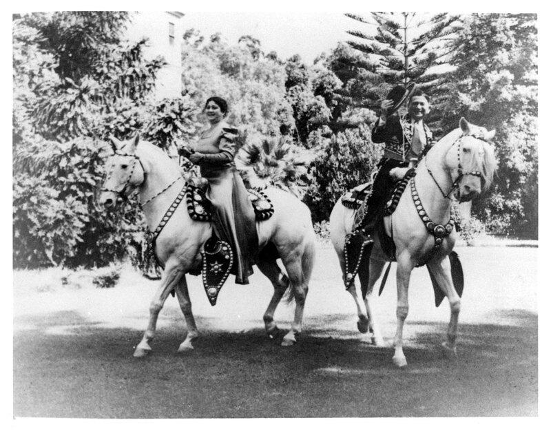 Adolfo Camarillo and Carmen Camarillo on Horseback