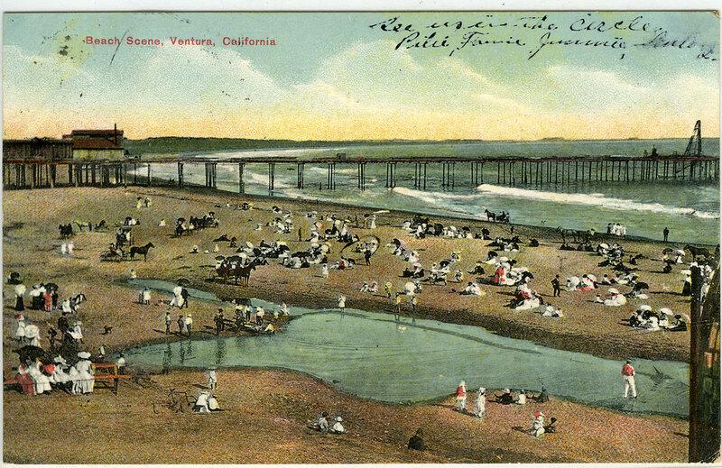 Beach Scene at Ventura Wharf Postcard