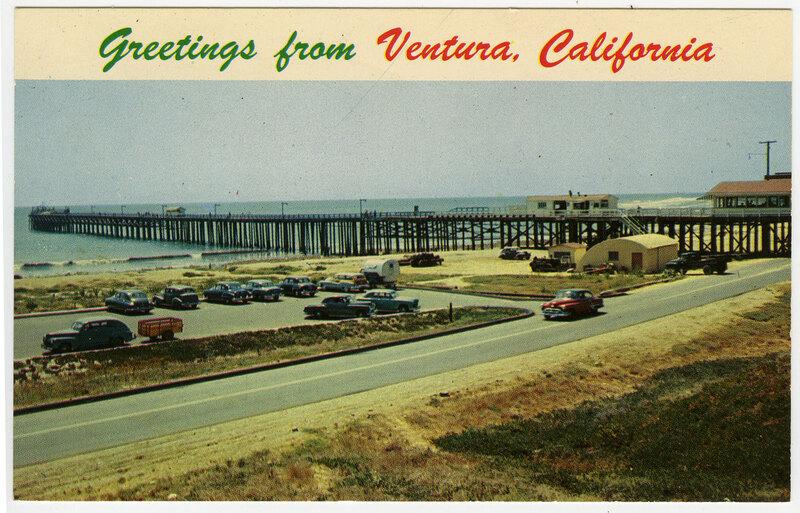 Ventura Pier and Parking Lot Postcard