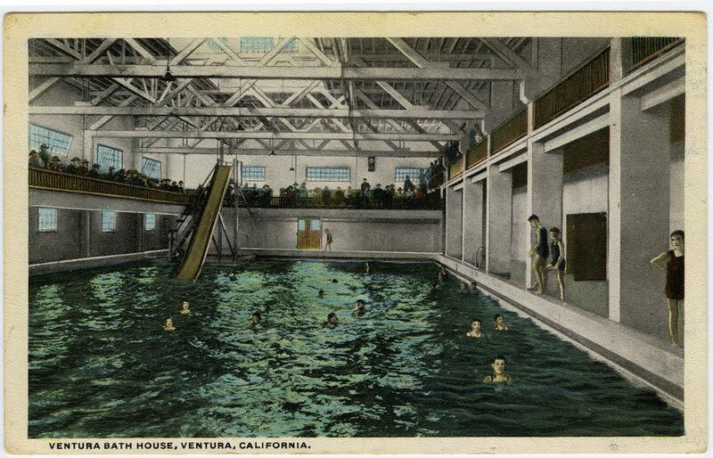 Ventura Bath House, Ventura, California undated postcard