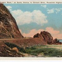 Dragon Rock, on Santa Monica to Oxnard Blvd., Roosevelt Highway, Calif. 1938 ; (pm) Post Card