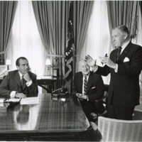 Richard Nixon, Charles Teague, and George Murphy in Oval Office