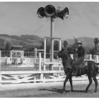 Horse and rider at fairgrounds, 1940