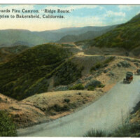"Looking Towards Piru Canyon, ""Ridge Route"", Los Angeles to Bakersfield postcard"