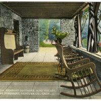 Veranda, Pierpont Cottages, Ojai Valley, Near Nordhoff, Ventura Co. postcard