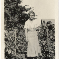 Bonita McFarland Standing in Dahlia Garden