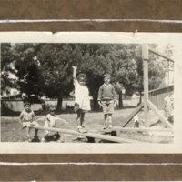 Four Children on a Playground Outside Palm Street Kindergarten, ca. 1930