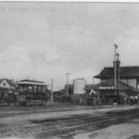 Old Horse Car and Depot postcard