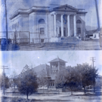 Carnegie Library and Protestant Church buildings.