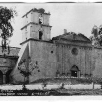 Mission Santa Barbara Earthquake Damage postcard