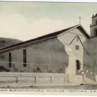 San Buenaventura Mission colored Post Card