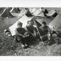 John, George and Leonard Takasugi in Army Camp