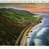 Coast Highway Showing Rincon Sea Wall and Oil Fields Postcard