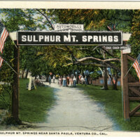 Entrance to Sulphur Mt. Springs postcard