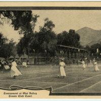 Tournament at Ojai Valley Tennis Club Court postcard