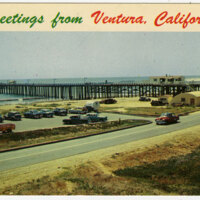 Ventura Pier and Parking Lot Postcard
