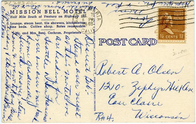 Mission Bell Motel postcard verso