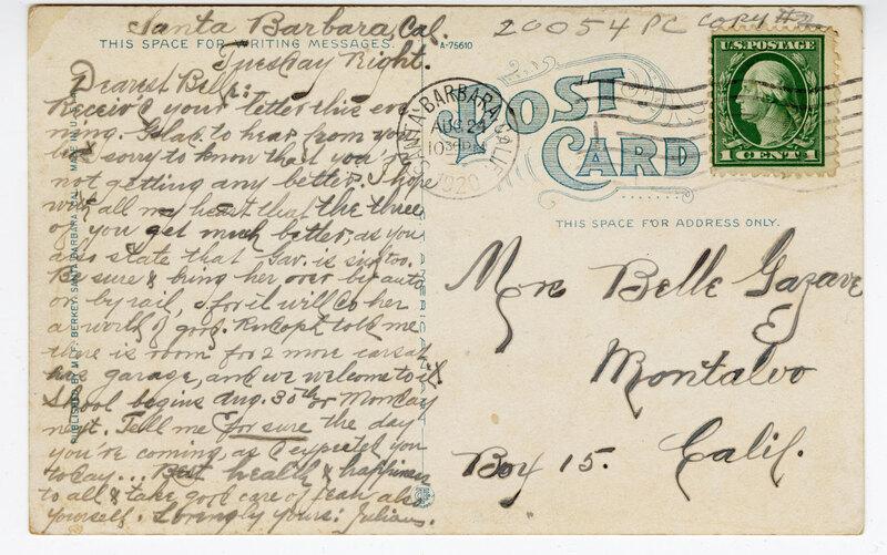 """The Rincon"" California Coast Highway Between Ventura and Santa Barbara Post Card Verso"