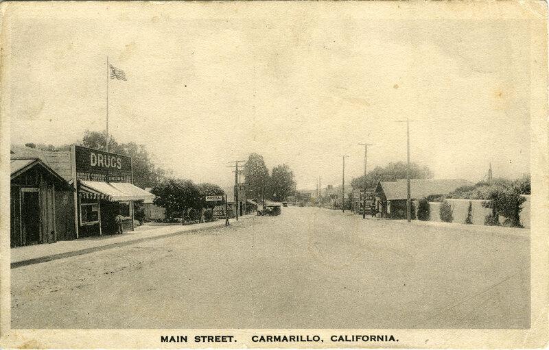 Main Street in Camarillo, 1927 postcard