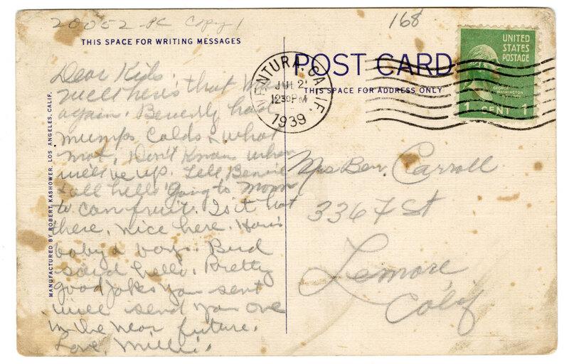Public Library, Ventura, Calif. Post Card Verso