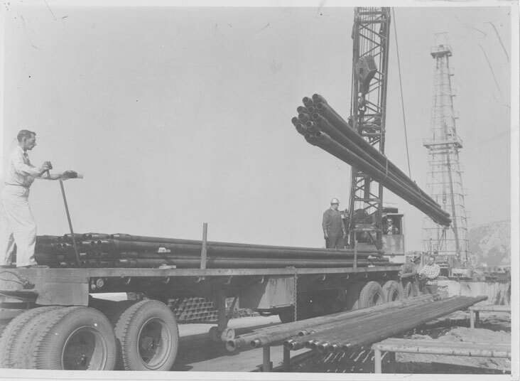 Flatbed Truck and Crane