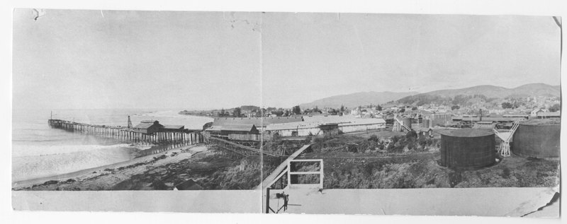 Union Oil Company panorama view of tramway to wharf