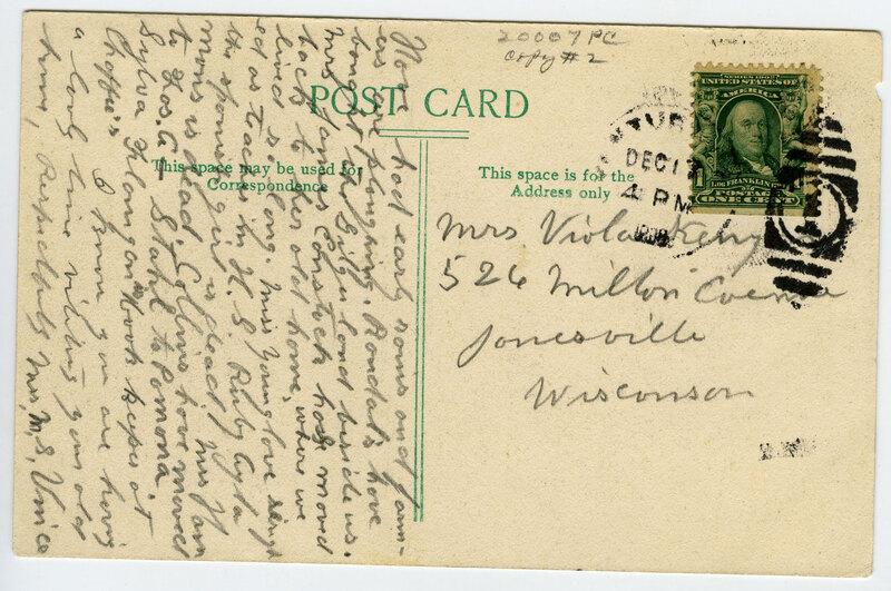 Old San Buenaventura Mission post card verso