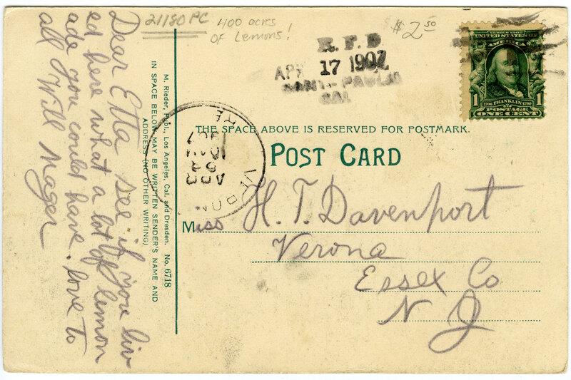 Four hundred (400) acres of Lemons, Limoneira Ranch postcard verso