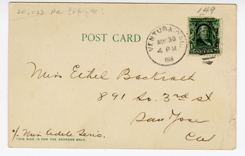 Bard Memorial Hospital, Ventura, Cal. Post Card Verso