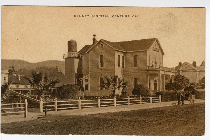 County Hospital, Ventura, Cal. Sepia Post Card