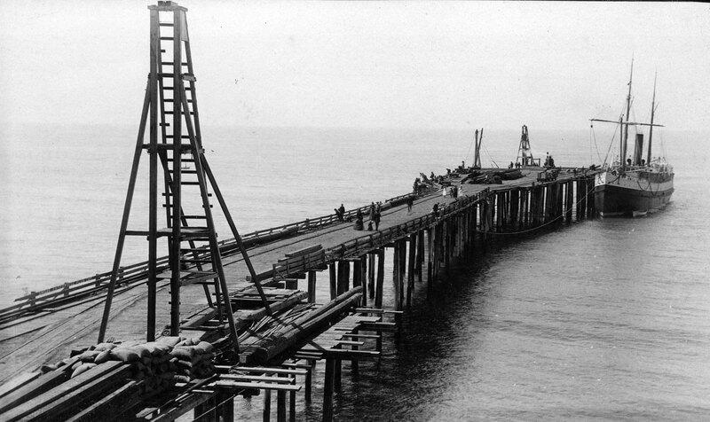 San Buenaventura Wharf and S.S. Pomona black and white