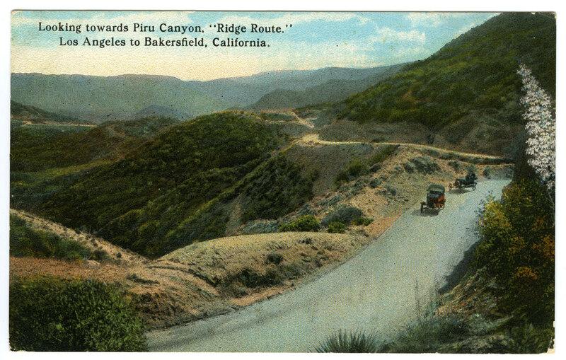 "Looking Towards Piru Canyon, ""Ridge Route"", Los Angeles to Bakersfield postcard"