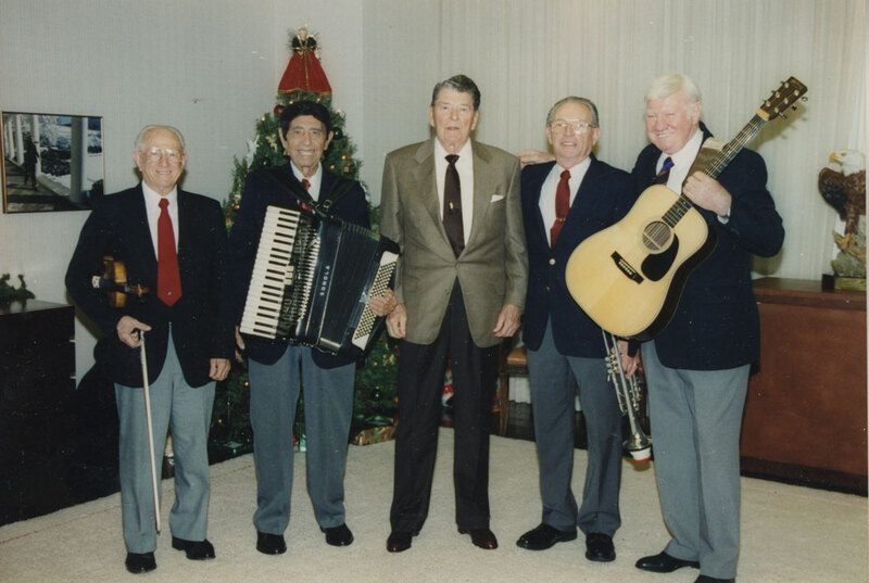 President Reagan With Musicians in Century City Office