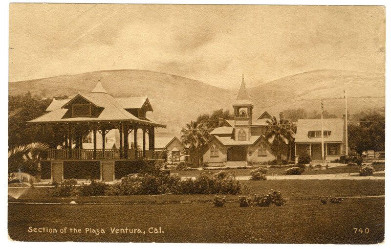 Section of The Plaza, Ventura, Cal. postcard